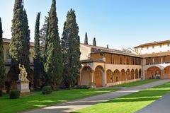 Courtyard of basilica Santa Croce in Florence, Italia Stock Photos