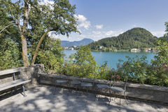 Courtyard of Bled island with view over town and lake Stock Photography