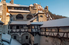Courtyard of the Bran castle in winter Stock Photos