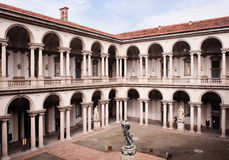 Courtyard of the Brera Palace in Milan. Royalty Free Stock Photo