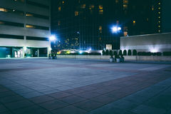 Courtyard and buildings at night in downtown Baltimore, Maryland Royalty Free Stock Photo