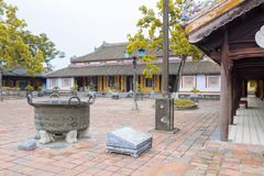 Courtyard of imperial city citadel in Hue, Vietnam. Courtyard of Can Chang palace in Hue Citadel in Vietnam stock photos