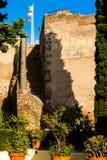 Courtyard of  Castillo de Gibralfaro. Walls of courtyard of  Castillo de Gibralfaro, Costa del Sol, Andalusia, Spain Stock Photo