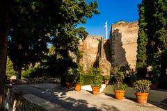 Courtyard of  Castillo de Gibralfaro. Walls of courtyard of  Castillo de Gibralfaro, Costa del Sol, Andalusia, Spain Stock Image