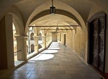 Courtyard castle arcades Pieskowa Skala. Arcades castle arcades Pieskowa Skala, historic palace Stock Image