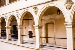Courtyard castle arcades Pieskowa Skala , medieval building near Krakow, Poland Stock Photo