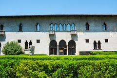 Courtyard of the castle Castelvecchio is a castle in Verona, northern Italy. Courtyard of the castle Castelvecchio Italian: `Old Castle` is a castle in Verona stock image