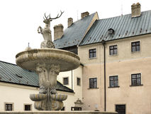 The courtyard of castle Cerveny Kamen in Slovakia Royalty Free Stock Photography