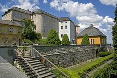 Courtyard of the Castle Hill Jansky. View of the Castle Jansky Hill from the castle garden Royalty Free Stock Photos