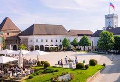 Courtyard of Castle in Ljubljana in Slovenia royalty free stock image