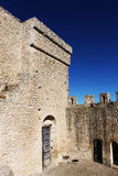 Courtyard of a castle of middle ages. A foreshortened view of the courtyard of the medieval fortress of mussomeli, sicily, a well known sample of architecture of Royalty Free Stock Photography