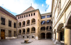 Courtyard and the castle in the old city Stock Image