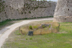 Courtyard of the castle of Otranto Royalty Free Stock Images