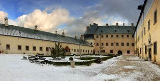 Courtyard of the castle : Red Rock. (Cerveny Kamen) - Slovakia Europe Panoramic view stock photography