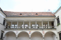 Courtyard of Castle in Telc stock photo