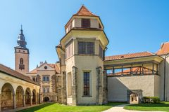 At the courtyard of castle in Telc - Czech republic,Moravia Stock Photography