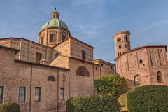 The courtyard of the cathedral and Neonian Baptistery in Ravenn Royalty Free Stock Photo