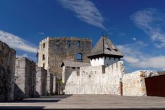 Courtyard of Celje medieval castle in Slovenia Royalty Free Stock Image