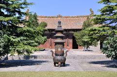 Courtyard and censer in Chinese temple Royalty Free Stock Image