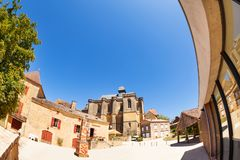 Courtyard of Chateau de Biron, France, Europe stock image