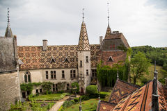 Courtyard of Chateau De La Rochepot from above Stock Images