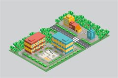 Courtyard with children`s Playground and shops around in isometry. The illustration shows the courtyard of two multi-storey houses. There is a Playground with stock illustration