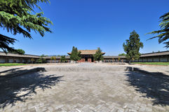Courtyard of Chinese temple in wide view angle Stock Image
