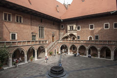 Courtyard of the college maius krakow poland europe Royalty Free Stock Photos