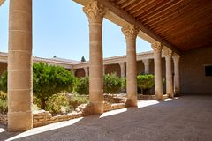 The courtyard with columns. Royalty Free Stock Photo