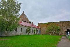 The courtyard of Confidential house - Old prison in Fortress Oreshek near Shlisselburg, Russia Royalty Free Stock Photos