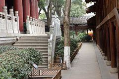 Courtyard corridor-A corner of the park. Shengjin tower brick Pavilion style tower Jiangnan typical, 50.86 meters high tower, the tower for the seven layer eight Stock Photos