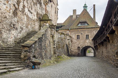 Courtyard of Czoch castle in Lesna - Poland. Royalty Free Stock Photo