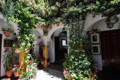 Courtyard decorated with flowers, Cordoba, Spain Royalty Free Stock Photos
