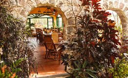 Courtyard Dining Room in Stone Restaurant Stock Photography