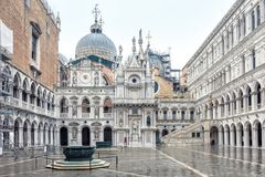 Courtyard of Doge`s Palace in Venice, Italy. Courtyard of Doge`s Palace or Palazzo Ducale, Venice, Italy. Doge`s Palace is one of the main tourist attractions in Royalty Free Stock Images