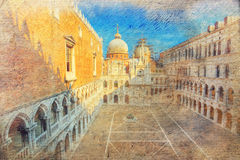 Courtyard of Doge's palace. Venice. Italy. Royalty Free Stock Image