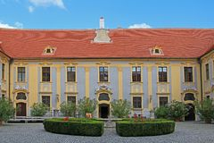 A courtyard at Durnstein Abbey Royalty Free Stock Photos