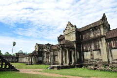 Courtyard & entrance of Angkor Wat Temple Stock Photos
