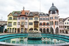 Courtyard of Europe in Komarno, Slovakia. Courtyard of Europe is the name for the unique architectural work of the architects from the Atelier Europe in Komarno Royalty Free Stock Images