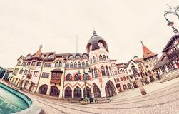 Courtyard of Europe in Komarno, Slovakia. Courtyard of Europe is the name for the unique architectural work of the architects from the Atelier Europe in Komarno Royalty Free Stock Photos