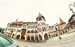 Courtyard of Europe is the name for the unique architectural work of the architects from the Atelier Europe in Komarno, Slovak. Republic. Fish eye scene. Old royalty free stock image