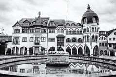 Courtyard of Europe in Komarno, Slovakia, colorless. Courtyard of Europe is the name for the unique architectural work of the architects from the Atelier Europe Stock Images