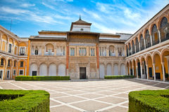 Courtyard with fontain of Alcazar, Seville,  Spain Stock Photography