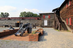 Courtyard of Fort William Henry, with outside exhibits,Lake George,New York,2015 Stock Photos