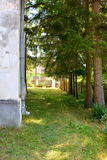 Courtyard. Fortified medieval saxon evangelic church in the village Somartin, Martinsberg, Märtelsberg, Transylvania, Romania. Village Somartin, Martinsberg royalty free stock image