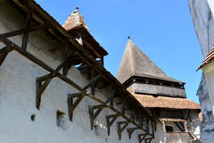 Courtyard of the fortified saxon medieval church Homorod, Transylvania Royalty Free Stock Image