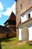 Courtyard of the fortified saxon medieval church in the village Viscri, Transylvania. The villagers started building a single-nave Romanesque church, which is Royalty Free Stock Image