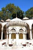 Courtyard and fountain. Washing place before praying in mihrimah sultan, Istanbul. mihrimah sultan fountain in courtyard istanbul Stock Photos
