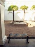 Courtyard with fountain stock photos
