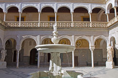 Courtyard with fountain of Casa de Pilatos Stock Images
